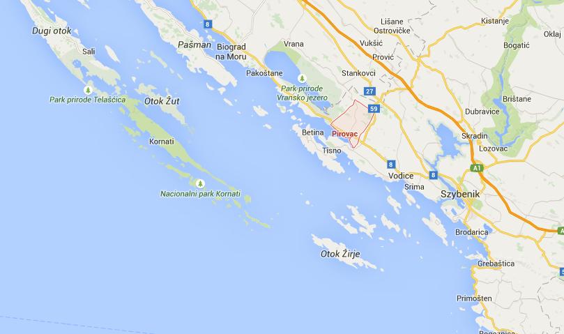 "Campingi w Chorwacji- Camping ""Miron"" Pirovac mapa"