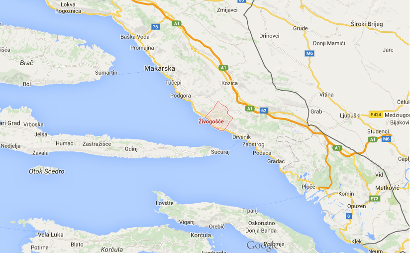 "Campingi w Chorwacji- Camping ""Male Ciste"" Zivogosce mapa"