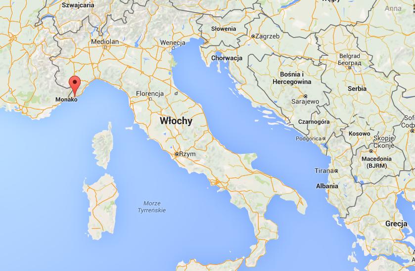 Sanremo- lokalizacja na mapie Włoch (źródło: Google Maps)